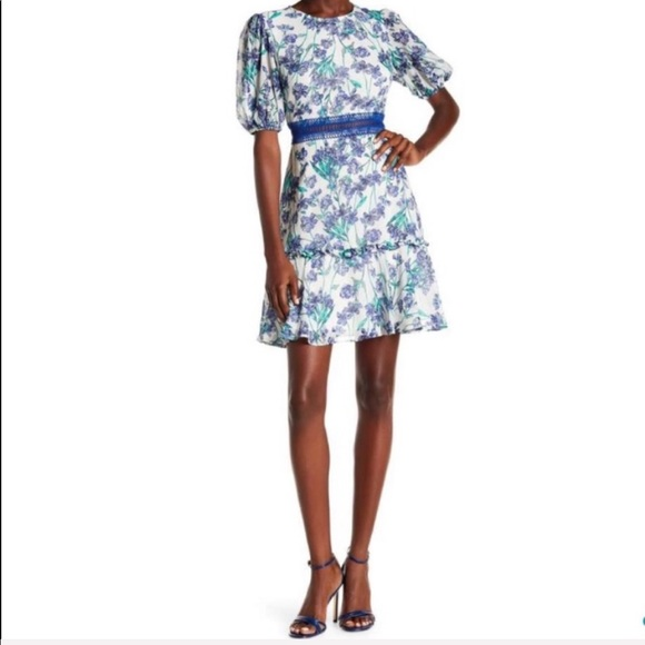 Donna Morgan Dresses & Skirts - NWT Donna Morgan Floral Fit Flare White Blue Dress
